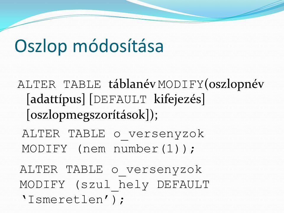 Oszlop módosítása ALTER TABLE táblanév MODIFY(oszlopnév [adattípus] [DEFAULT kifejezés] [oszlopmegszorítások]);